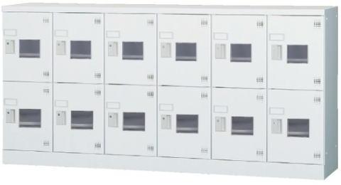 き 豊國工業 多人数用ロッカーロータイプ(3列4段)シリンダー錠 GLK-S12 CN-85色(ホワイトグレー)